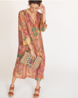Floral printed kaftan style striped φόρεμα