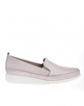 Nude color slip on loafers