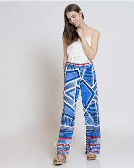 Abstract printed wide leg παντελόνι