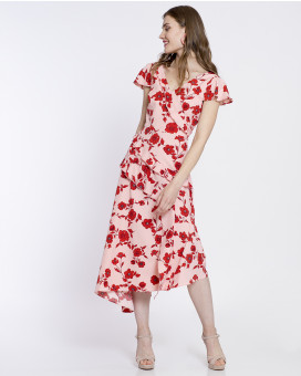 Asymmetric floral printed ruffled φόρεμα