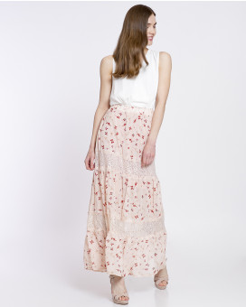 Butterfly printed lace detailed φούστα