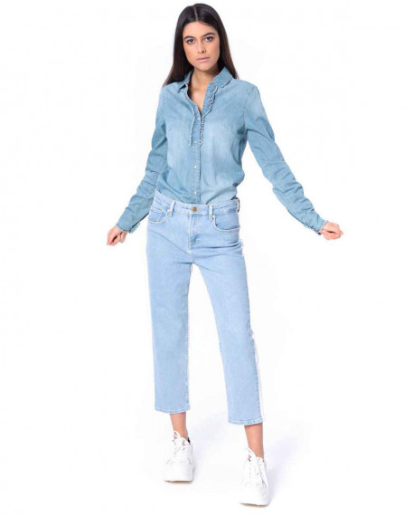 Cropped two toned denim παντελόνι