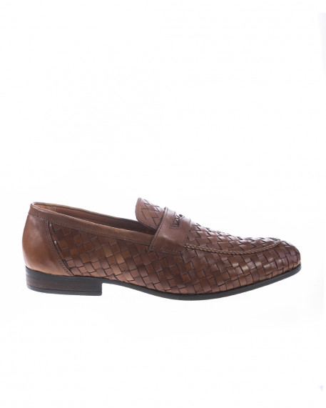 Woven style leather penny loafers