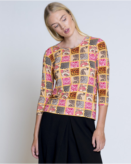 Patchwork printed τοπ